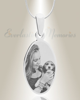 Oval Photo Engraved Stainless Pet Keepsake