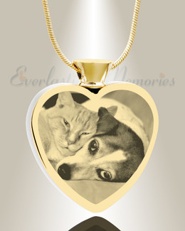 Heart Gold Plated Photo Engraved Ash Pet Pendant