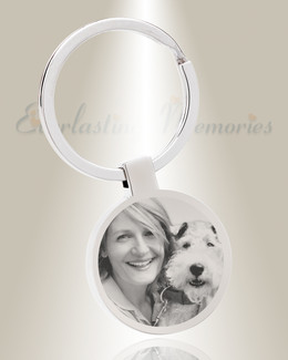 Round Stainless Steel Picture Engraved Pet Keychain