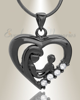 Black Nurturing Heart Memorial Jewelry