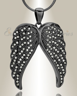 Black Spiritual Wings Memorial Jewelry