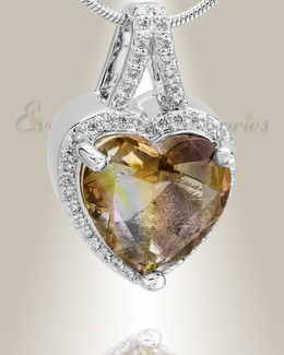 Sterling Silver Dazzle Heart Memorial Jewelry
