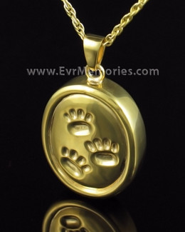 Gold Plated Remember Me Oval Ash Pendant