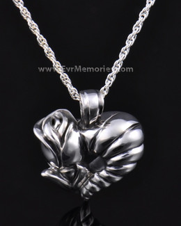 Sterling Silver Flower Heart Cremation Charm