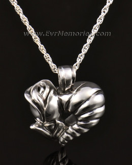 14k White Gold Sterling Silver Flower Heart Cremation Charm