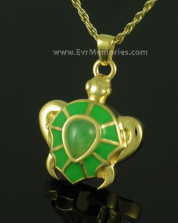 Gold Plated Green Turtle Memorial Necklace