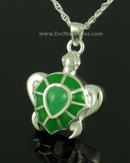 Sterling Silver Green Turtle Memorial Necklace