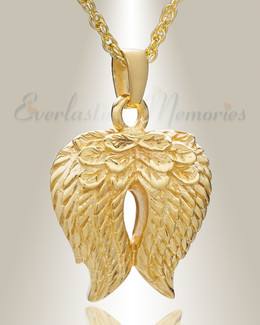 14 Gold Feathered Heart Cremation Charm