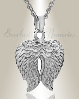 Sterling Silver Feathered Heart Cremation Charm