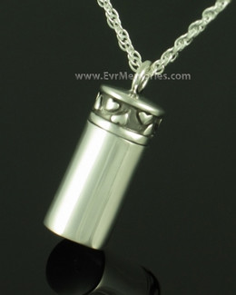 Sterling Silver Hearts Cylinder Ash Pendant