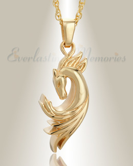 Gold Plated Stallion Memorial Jewelry