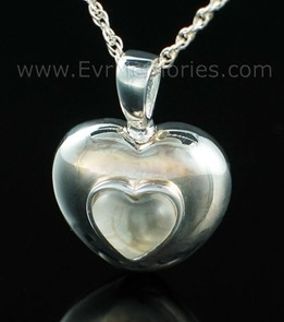 Sterling Silver April Heart Urn Necklace