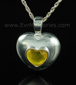 Sterling Silver November Heart Funeral Jewelry