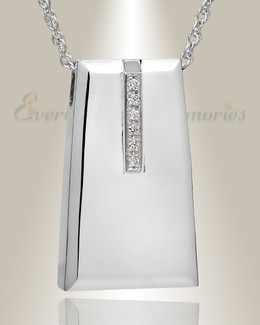 Sterling Silver Eternity Sliding Rectangle Memorial Locket with Stones