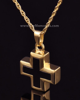 14K Gold Plated Destiny Cross Urn Keepsake