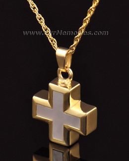 14K Gold Oceanic Cross Jewelry Urn