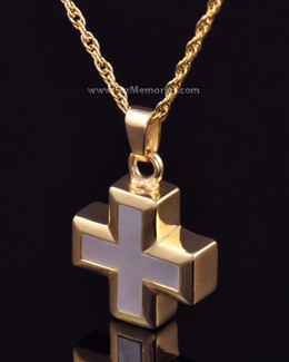 14K Gold Plated Oceanic Cross Jewelry Urn