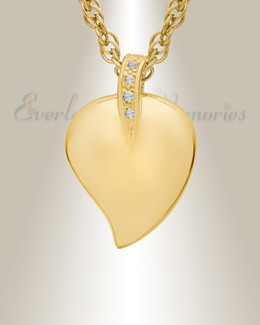 14K Gold Plated Fire Heart Cremation Keepsake