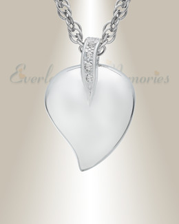 14K White Gold Fire Heart Urn Keepsake