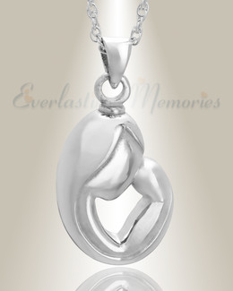 14K White Gold Mother's Touch Remembrance Pendant