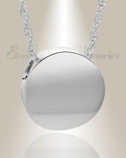 14K White Gold Beach Round Urn Pendant Keepsake