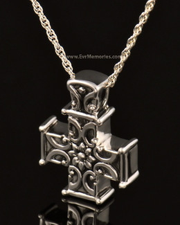 14K White Gold Companion Memory Cross Keepsake Pendant
