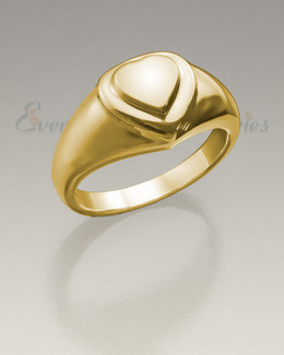Women's 14K Gold Forever Love Heart Cremation Ring