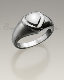 Women's White Gold Forever Love Heart Cremation Ring