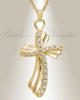 14K Gold Plated Rocky Cross Urn Necklace