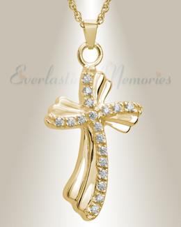 14K Gold Rocky Cross Funeral Jewelry