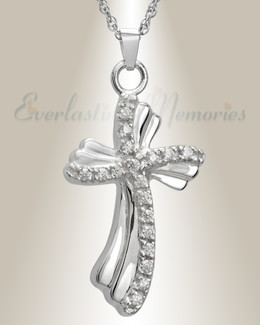 14K White Gold Rocky Cross Cremation Keepsake