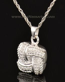 14K White Gold Interlace Locket Remembrance Jewelry