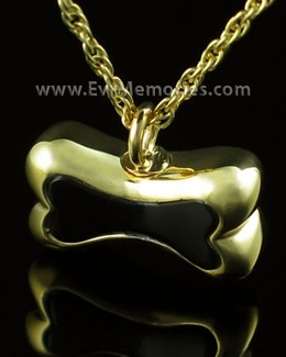 14K Gold Plated Black Bone Urn Necklace