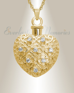 14K Gold Twinkle Heart Memorial Jewelry