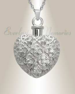 14K White Gold Twinkle Heart Jewelry Urn
