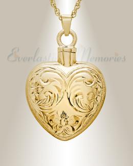 14K Gold Spirit Heart Urn Necklace