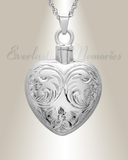 14K White Gold Spirit Heart Jewelry Urn