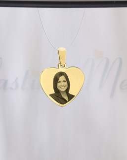 Heart Photo Engraved Gold Plated over Stainless Guardian