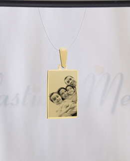 Rectangle Photo Engraved Gold Plated over Stainless Guardian