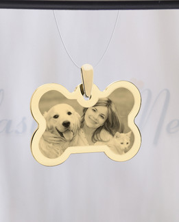 Bone Photo Engraved Gold Plated Pet Guardian