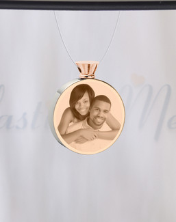 Round Rose Gold Plated Photo Engraved Ash Guardian