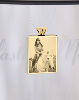 Rectangle Gold Plated Photo Engraved Pet Ash Guardian