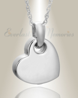 14K White Gold Charming Heart Remembrance Pendant