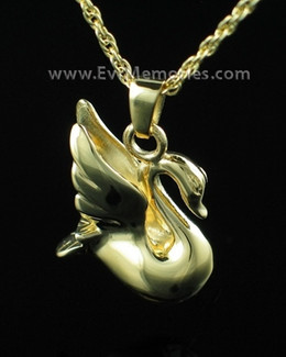 14K Gold Plated Swan Cremation Urn Keepsake