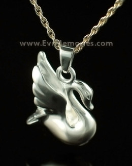 14K White Gold Swan Urn Keepsake