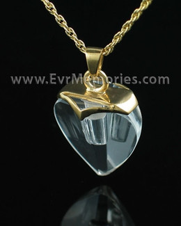 Gold Plated and Crystal Heart Urn Necklace