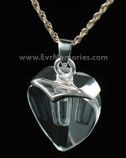 Sterling Silver and Crystal Heart Funeral Jewelry
