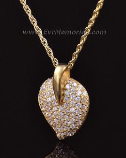 14K Gold Blaze Heart Memorial Locket
