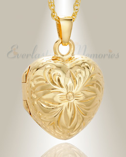 Gold Vermeil Daisy Heart Cremation Urn Keepsake
