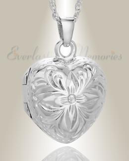 Sterling Silver Daisy Heart Jewelry Urn
